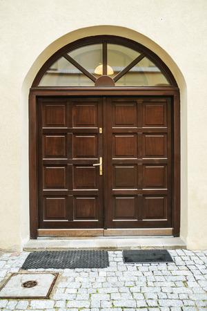 Wooden massive door  Stock Photo
