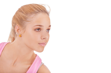 purposefulness: Fair-haired girl on occupations by gymnastics, is isolated on white background.
