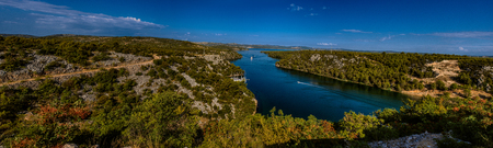 national parks: Panorama of Krka National Park is one of Croatian national parks, named after river Krka that it encloses. It is located along middle-lower course in central Dalmatia, in Sibenik-Knin county Stock Photo