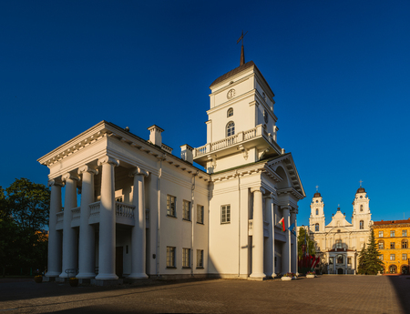 A City hall in Minsk, Belarus is a symbol of municipal government. During 16-19th centuries it was rebuilt several times. The building acquired its final classical appearance by the end of 18th century.