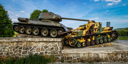 World war 2: Tank Memorial to Soviet soldiers and soldiers of the Czechoslovak Corps. Slovakia, Presovsky, Svidnik