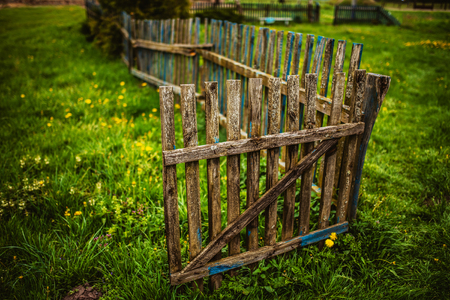 wooden fence: Wooden fence in countryside of Belarus.