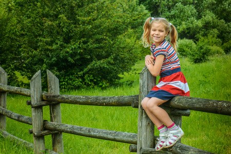 Beautiful little smiling girl sitting on wooden fence in countryside.