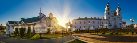 holy: The Holy Spirit Cathedral in Minsk, Belarus is dedicated to the Holy Spirit. It is the central cathedral of the Belarusian Orthodox Church. Stock Photo