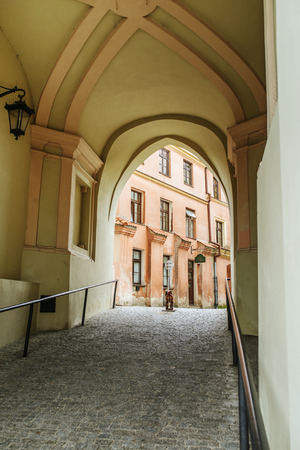 ramparts: The Cracow Gate - the fourteenth-century gate guarding the access to the Old Town in Lublin, Poland, historic symbol of the castle. The residue ramparts of the fourteenth century. Editorial
