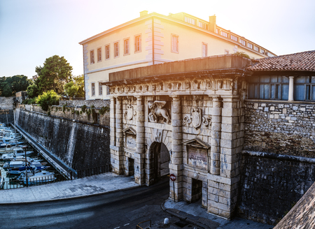 croatia: The monumental Land Gate (Porta terraferma) Michele Sanmicheli in 1543 in the harbor Fosa, Zadar, Croatia.