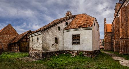 river county: Old house located in the Old Town near Pisa Warminska river in Barczewo, Olsztyn County, Warmian-Masurian Voivodeship, Poland.