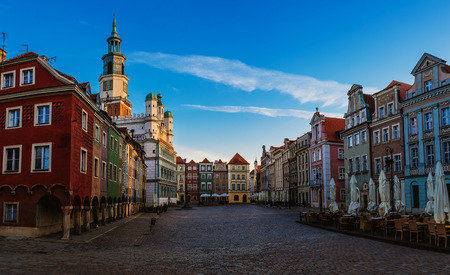 tenement: Old city in Poznan. Poznan is a city on the Warta river in west-central Poland, in the region called Wielkopolska (Greater Poland). Stock Photo