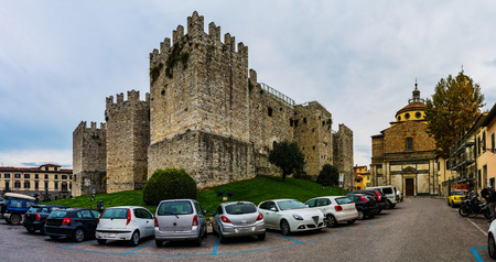 crenellated tower: Castello dellImperatore is castle with crenellated walls and towers. Built for medieval emperor and King of Sicily Frederick II, Holy Roman Emperor, it was built in Prato, Italy.