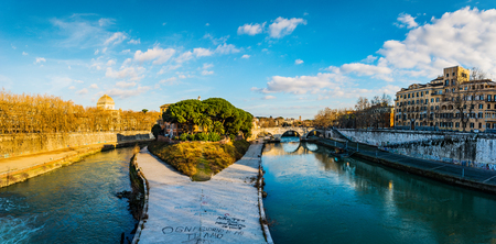 rim: Tiber Island is only island in Tiber river which runs through Rome. Tiber island is located in southern bend of Tiber. Island is boat-shaped, approximately 270 metres long, 67 metres wide.