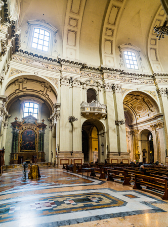 BOLOGNA, ITALY - NOVEMBER 21 2016: Cathedral (Cattedrale Metropolitana di San Pietro), dedicated to Saint Peter, is cathedral of Bologna in Italy, and metropolia of Archbishop of Bologna.