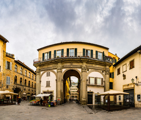 Three arches of portico which remained after demolition. San Pier Maggiore was church in Florence, Tuscany, central Italy largely destroyed in 18th century.