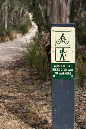 designated: Start of a bush track designated for both walkers and bike riders