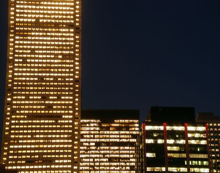 symetry: Night time corporations Stock Photo