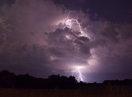 Lightning strike in Missouri 版權商用圖片
