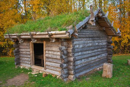 Old log house with turfed roof