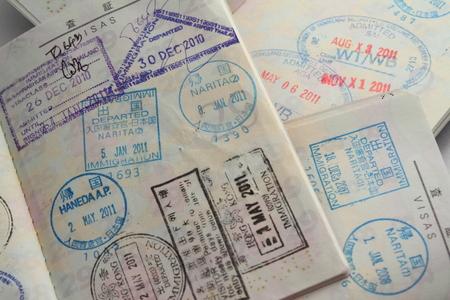 overseas visa: visa on passport Stock Photo