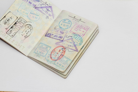 oversea: visa on passport Stock Photo