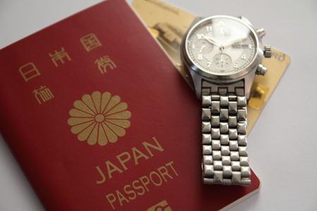 日本のパスポートと時計 写真素材