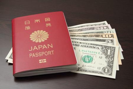 日本のパスポートと米ドル