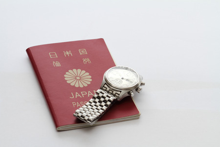 oversea: Japanese passport and watch Stock Photo