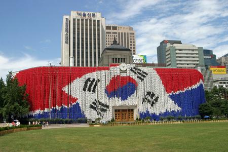 国旗とソウル市庁舎