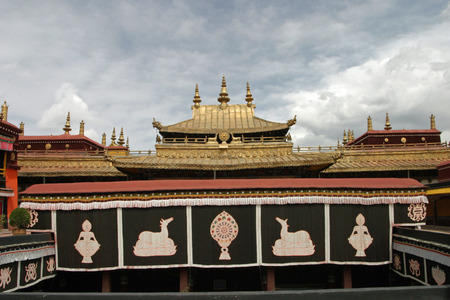 people's cultural palace: Jokhang temple in Tibet Stock Photo