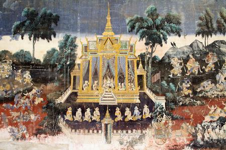 painting wall: Pintura de pared en la Pagoda de Plata, en Phnom Penh, Camboya