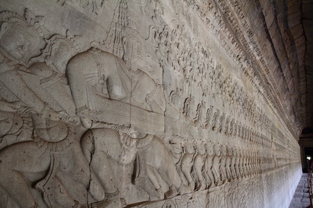 churning: Relief of the Churning of the Ocean of Milk at Angkor Wat