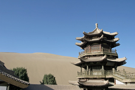 crescent lake: Temple in Crescent lake, Mingsha Shan, Dunhuang, China