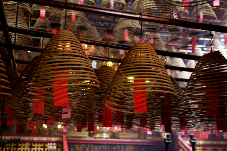 wen: Spiral incense stick at Man Mo Temple in Hong Kong