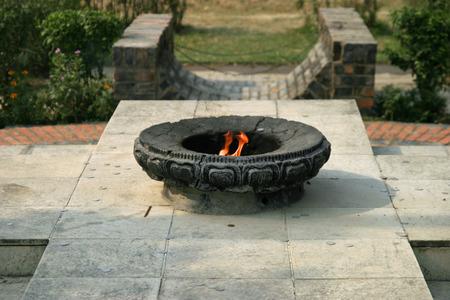 gautama buddha: Eternal peace flame in Lumbini, Nepal