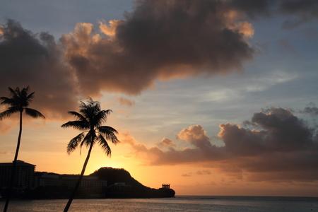 guam: Sunset in Tumon Beach, Guam Stock Photo