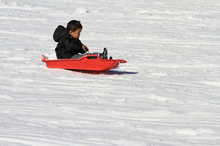 Japanese boy on the sled (3 years old) photo