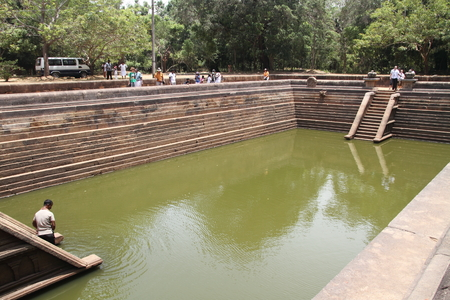 temple tank: Kuttam Pokuna (twin ponds) in Anuradhapura, Sri Lanka