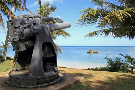 Coast gun in Ga\'an point 免版税图像