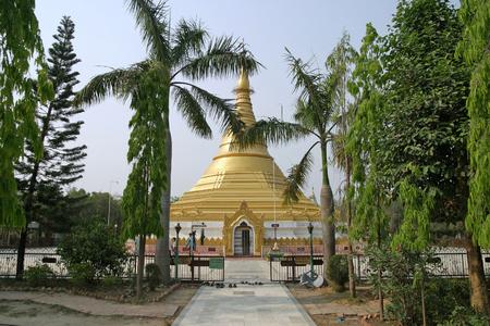 gautama buddha: Myanmar temple in Lumbini, Nepal