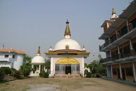 gautama buddha: Nepal nunnery temple in Lumbini, Nepal Stock Photo