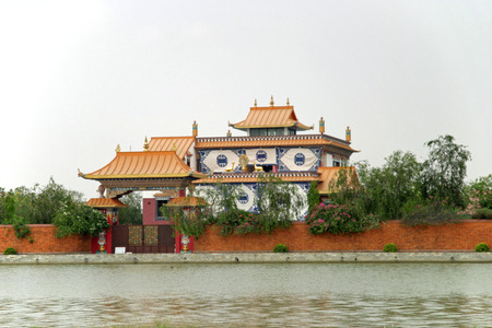 gautama buddha: Japan temple in Lumbini, Nepal
