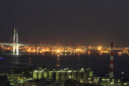 industrial district: Keihin industrial district in Japan at night Editorial