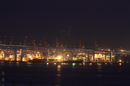 kanagawa: Keihin industrial district in Japan at night Editorial