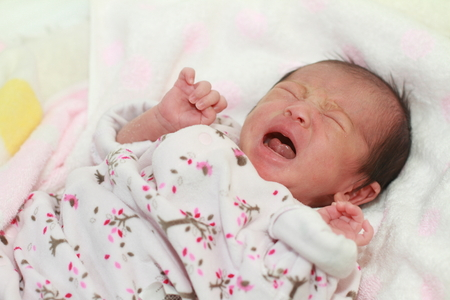 crying baby: Crying newborn baby (Japanese baby girl)