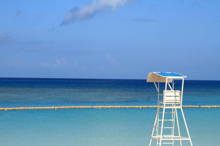 lifeguard tower: lifeguard tower in Tropical beach, Okinawa, Japan