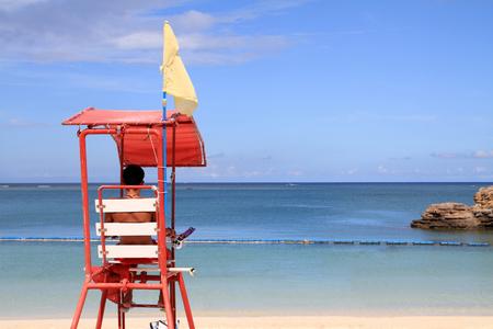 lifeguard tower in Araha beach, Okinawa, Japan Stock Photo