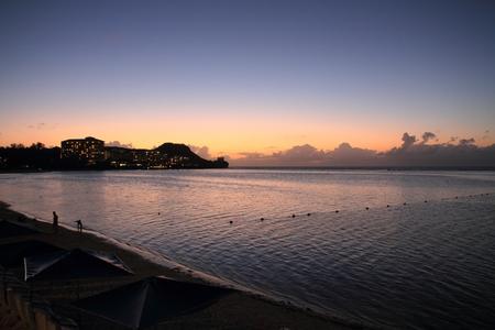guam: Tumon beach at the sunset in Guam Micronesia Stock Photo