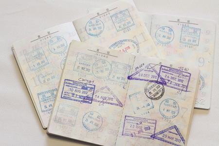 foreign country: Many visas on Japanese passort Stock Photo