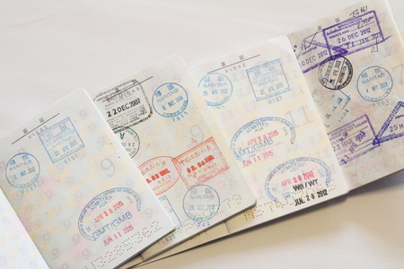 oversea: Many visas on Japanese passort Stock Photo