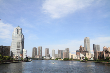 sumida: Sumida river and high-rise buildings in Tokyo, Japan