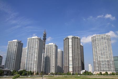 21: High-rise condominium in Yokohama Minatomirai 21, Japan Stock Photo