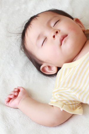 snoozing: Sleeping Japanese baby girl (0 year old)